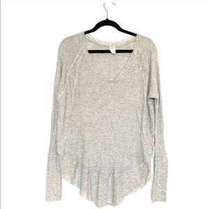 FREE PEOPLE Thermal Grey Tunic Sweater
